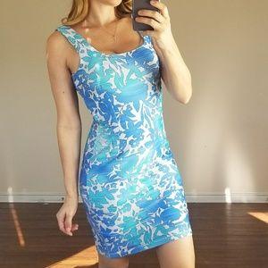 Jennifer Lopez Blue Flower Ruched Tank Dress S